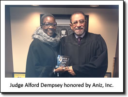 Judge Alford Dempsey honored by Aniz, Inc